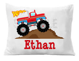 100 Monster Truck Bedroom Pillow Case Personalized Pillowcase Etsy