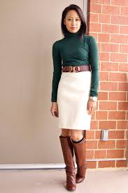 A Fashion Deliberation One Winter White Skirt Five Ways Different Color Turtleneck And Black Boots For Me