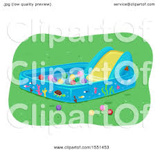 Clipart Of A Kiddie Pool With Slide And Balls