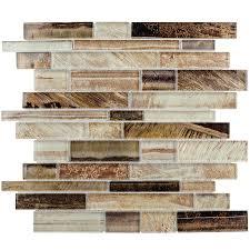 Glass Tiles For Backsplash by Shop Elida Ceramica Laser Metallic Earth Linear Mosaic Glass Wall