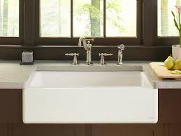 Kohler Cast Iron Sink Enamel Care by Dickinson Apron Front Kitchen Sink With Four Faucet Holes K 6546