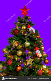 Christmas Tree Big Red Star Top Decoration Lights Small Pendants Stock Photo