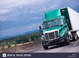 100 Commercial Truck And Van Modern Green Day Cab Semi Truck With Chrome Grille And Dry Van White