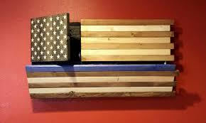 Gun Concealment Rustic Thin Blue Line American Flag Cabinet
