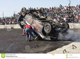 Wrecked Truck On The Top During The Demolition Derby Editorial Photo ...