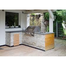 stein outdoorküche in l form mit wok grill und napoleon