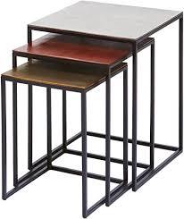 kare design beistelltisch loft square vintage 3er set moderner kleiner wohnzimmertisch edel designcouchtische mit schwarzen schmalen metallgestell