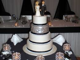 Black White & Bling Wedding Cake with Personalised Bride & Groom Toppers