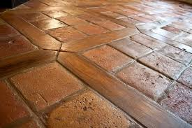 antique reclaimed terracotta oak floor inlay