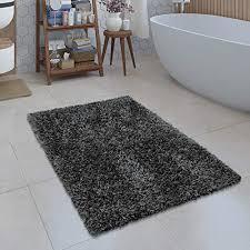 paco home moderne badematte badezimmer teppich shaggy kuschelig weich einfarbig grau grösse ø 80 cm rund