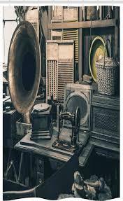 abakuhaus duschvorhang badezimmer deko set aus stoff mit haken breite 120 cm höhe 180 cm antiquität alter speicher gramophone kaufen otto