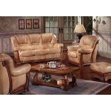 canapé cuir et bois rustique ensemble canapé cuvette stylisé style rustique cuir vachette haida
