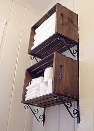 Rustic Wall Bathroom Organizer For Towel Storage