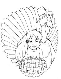 Kid And Turkey Coloring Pages Printable Thanksgiving