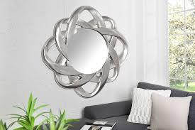 wandspiegel silber rund 90cm polyresin spiegel dunord design