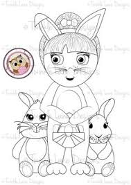Betty And The Bunnies Digi Stamp For Easter With Eggs Bunny Rabbits Girl Girls CharactersBunny RabbitsFancy DressEaster