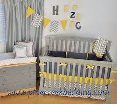 gray and yellow chevron zig zag baby bedding 9pc crib set by sweet