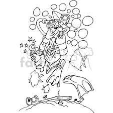 Royalty Free black white cartoon scuba diver stepping on a nail vector clip art image EPS SVG AI PDF illustration