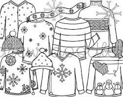 Winter Sweaters Digital Clip Art Set Black Line Version Instant Download