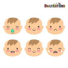 Baby Boy Faces Clip Art Set