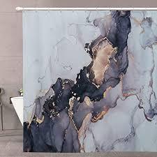 luxuriöser abstrakter duschvorhang roomtalks moderner schwarz goldener marmor kunst malerei badezimmer duschvorhang sets tinte textur wasserdicht