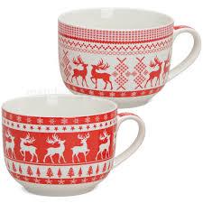 jumbo tassen becher weihnachtstassen rot weiß elch porzellan 2er set 500 ml