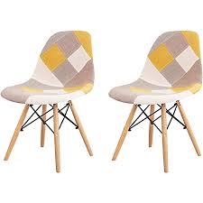 nicemoods patchwork stuhl 2 x retro stoff esszimmerstühle lounge industrie stühle holz home office esszimmermöbel bunter stuhl patchwork gelb