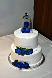 Charming Blue Wedding Cake Ornaments Roses Flowers Elegant White Wedding Cake Decoration Matched With