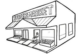 grocery store building clipart black and white 11