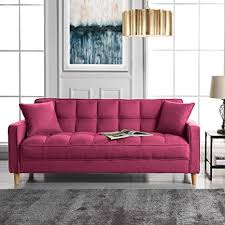 moderner leinen stoff getuftet kleiner platz wohnzimmer sofa pink