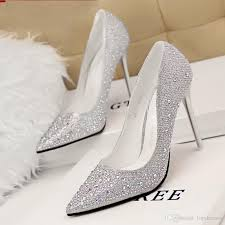 bling bling 2015 silver stiletto heel wedding shoes pointed