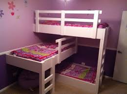 crossed white painted wooden bunk bed decor with floral patterned