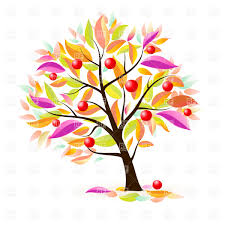 Stylized apple tree with autumn leaves Royalty Free Vector Clip Art