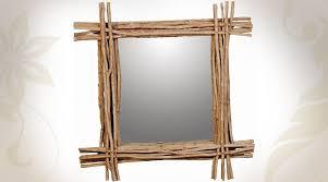 grand miroir carré en bois flotté 101 cm
