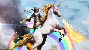 1920x1080 Cat Kote Unicorn Rainbow Gun Deagle Rimbaud