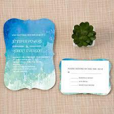 Shades Of Blue Bracket Shaped Summer Beach Wedding Invitation