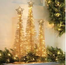 Gold Lighted Spiral Trees Set Of 3 Lady Builder Shops