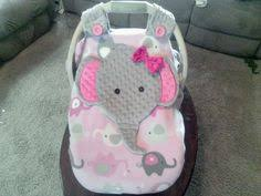 girls appliqued elephant car seat canopy with peek a boo opening