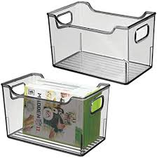 mdesign 2er set aufbewahrungsbox mit griffen allzweckkorb aus kunststoff vielseitig verwendbare box für küche badezimmer schrank oder büro