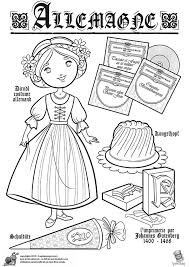 Germany Allemande Paper Doll To Color