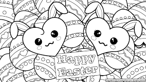 Terrific Cute Easter Eggs Coloring Pages With Bunny To Print