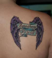 Memorial Banner With Angel Wings Tattoo On Right Back Shoulder