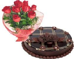 Red Roses Bouquet & Chocolate Cake