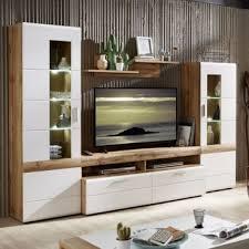 wohn concept le mans wohnwand 40 91 rw 81 moderne fünfteilige wohnkombination mit vitrinen lowboard tv aufsatz und wandboard wohnlösung in weiß matt