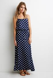 forever 21 contemporary polka dot maxi dress in blue lyst