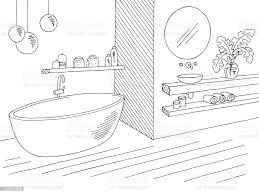 badezimmer grafik home interieur schwarz weiß skizze illustration vektor stock vektor und mehr bilder architektur