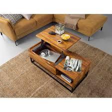 wohnling couchtisch sheesham massivholz 110x40x50 cm sofatisch mit metallbeinen wohnzimmertisch tischplatte aufklappbar holztisch tisch industrial