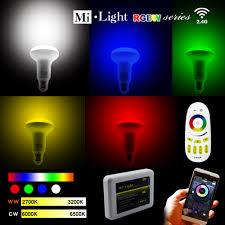 milight led light bulbs 2 4g wireless e27 rgbnw wifi led dimmable
