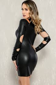 black faux leather cut out long sleeve bodycon party dress