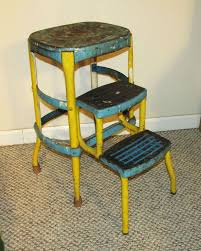 Cosco Retro Chair With Step Stool Yellow by Cosco Vintage Yellow Mcm Usa Folding Metal Adjustable Step Stool
